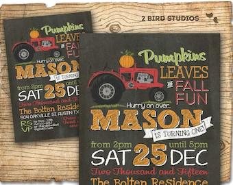 Pumpkin birthday invitation - Fall invitation - tractor party invitation fall pumpkin invitation with tractor - birthday party invitation