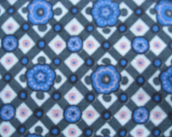 Feedsack Fabric from the 1930's 100% Vintage Feedsack Feed Sack Cotton Blue Pink Black Pattern