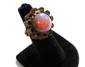WEST GERMANY Vintage Opal Glass Statement Cocktail Ring