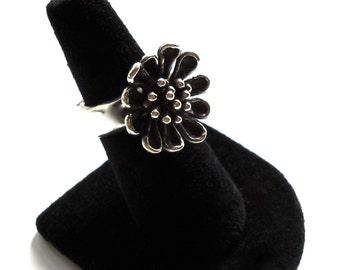 STERLING SILVER 925 Modernist Single Flower Wide Band Ring