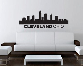 "Wall Decal Sticker Cleveland Skyline 22"" Tall 57"" Wide in White or Black"