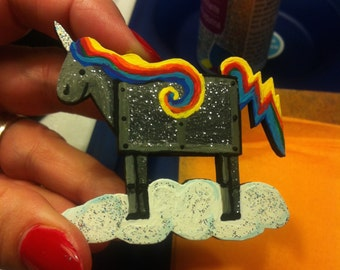 Robot Unicorn Brooch