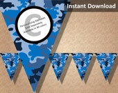 Blue Camo Camouflage Bunting Pennant Banner, Camo Camouflage Party Decorations, Printable Party Decorations, Instant Download