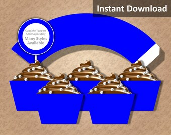 Solid Royal Blue Cupcake Wrapper Instant Download, Party Decorations
