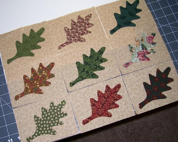 Items similar to set of oak leaf applique quilt blocks