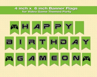 Banner Flags - Happy Birthday for Video Game Themed Party - INSTANT DOWNLOAD - PDF Files Only - You Print