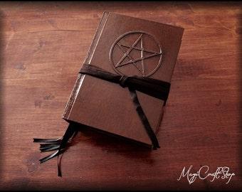 Book of shadows Brown PENTACLE - medium size 22x16 cm ( 8,27x6,3 inch ) - wicca paganism asatru journal mirror book