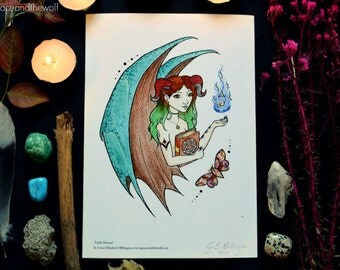 """Giclee Art Print, """"Little Demon"""" by Grace and the Wolf, A5, 5.83 x 8.27 inches, Somerset Photo 300gsm, original drawing"""
