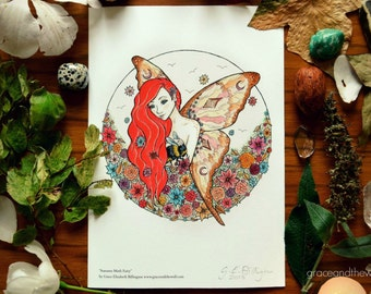 """Giclee Art Print, """"Autumn Moth Fairy"""" by Grace and the Wolf, A5, 5.83 x 8.27 inches, Somerset Photo 300gsm, original drawing"""