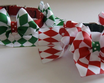 Christmas Large Bow Collars for Dogs-MERRY CHRISTMAS Collars with Large Bows for Dogs-Holiday Pet Collar-Feminine Christmas Collar