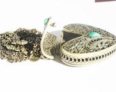 RESERVED FOR MARY Vintage Heart Pendant Necklace Locket Cage  Hollow Medal Filigree Perfume Secret Locket Make Wish Prayer Lockets