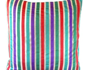 Striped Pillow Contemporary Pillow Accent Pillows Shimmer Pillows 18x18 inch Colorful Throw Pillow Cushion Covers Multicolored 16x16 inches