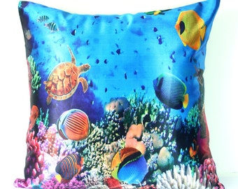 Ocean Pillow Cover Underwater Ocean Life Blue Pillow Colorful Throw Pillow Fish Turtle Flora & Fauna Beach House Decor Kids Pillow 16x16inch