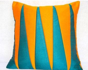 Mustard Green Pillow Cover, Mustard Throw Pillow, Green Cushion, Mustard PIllow, Accent Pillow, Toss PIllow, Handmade- Juicy Summer