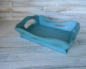 Teal Wood Tray - Easter Tray Decor -Distressed Teal Tray - Jewelry Wood Tray - Small Serving Tray - Home Decor Tray - Vintage Wood Tray