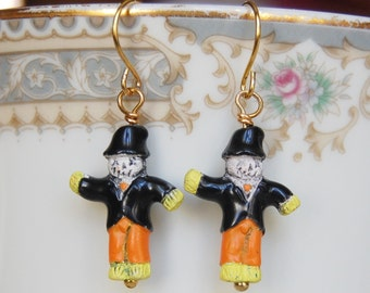 Scarecrow Earrings , Halloween Earrings , Orange Black Earrings , Ceramic Bead Earrings