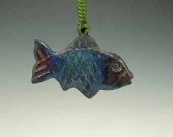 Raku Fish Ornament.  Multi colored copper glaze.  Ready to ship.