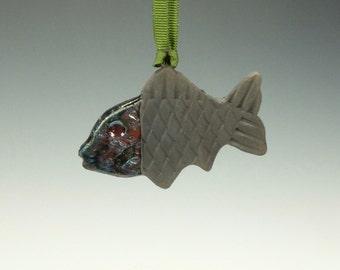 Raku Fish Ornament.  Multi colored and black.  Ready to ship.
