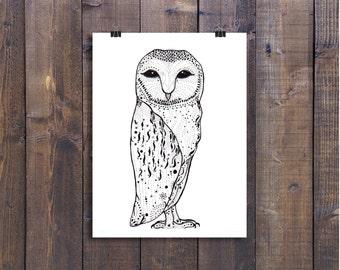 Owl Art, Owl Drawing, Owl Illustration, Pen and Ink Drawing, Black and White Art, Ink Drawing, Owl Art, Fun Art, Ink Art, Nursery Art