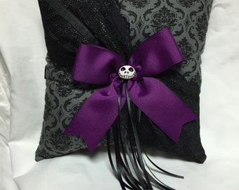 Nightmare Damask Print wedding Ring Bearer Pillow