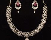 Silver and ruby necklace set with matching earrings, unique jewelry, bridal jewelry, special occasion, gifts for her