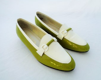 Vintage Naturalizer Loafers Green and White 1980s