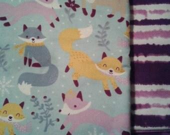 boho PURPLE FOX PERSONALIZED  baby name blanket shower gift preemie baby gift flannel baby girl Blanket nursery baby girl toddler  swaddle