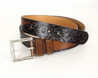 Handtooled Leather Belt, Mens Leather Belt, Womens Leather Belt, Thick Belt, Punched Belt, Sturdy Belt, Antique Belt, Full Grain Leather