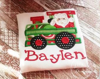 Santa Train applique - Christmas Custom Tee Shirt - Customizable
