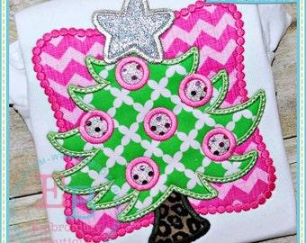 Christmas Tree applique - Christmas Custom Tee Shirt - Customizable