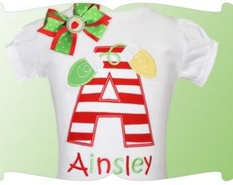 Christmas Lights Applique Letter - Christmas Custom Tee Shirt - Customizable