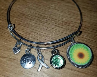 Lymphoma Awareness Silvertone Expandable Charm Bracelet