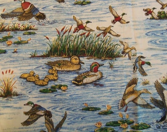 Ducks in Pond Fabric Remnant 36x46