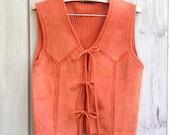 "Vintage suede vest | Rust orange suede leather knit ""Adorable"" boho vest with tie front closure"