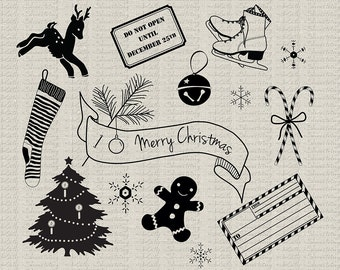 Christmas Clip Art Pack, Holiday Printables, Png, Jpg, Photoshop Brushes, Invitations, Gift Tags, Cards, Scrapbooking