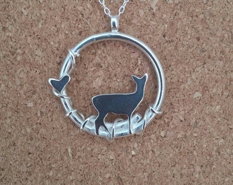 Deer Necklace, Sterling Silver Deer, Fawn Pendant, Woodland Jewelry, Fawn Pendant, Stag, Animal necklace, Deer gift
