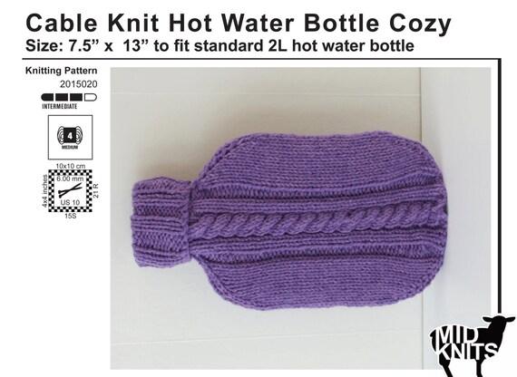 Knitting Pattern For Hot Water Bottle Cozy : DIY Knitting PATTERN - Cable Knit Hot Water Bottle Cozy ...