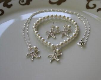 Starfish Necklace Earring Set Wedding Jewelry Bridesmaids Gift