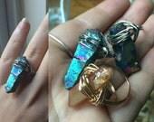 Crystal Wire Wrap Rings - Aura Quartz, Crystal Points, Rainbow, Clear, Cobalt, Titanium, Tangerine, Silver, Gold, Adjustable