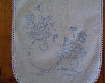 Stamped Flower Basket Table Runner - FREE SHIPPING