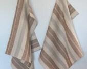 Tea Towel Set Stripes Striped Kitchen Towels Linen Towel Linen Hand Towels Linen Dish Towel Brown Beige Gray Towels set of 2