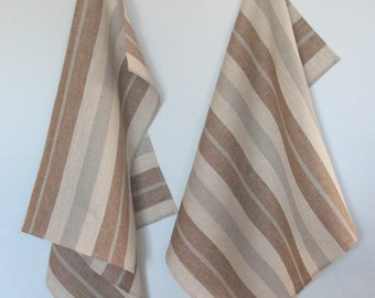 Tea Towels Tea Towel Stripes Striped Kitchen Towels Linen Towel Linen Hand Towels Linen Dish Towel Brown Beige Gray