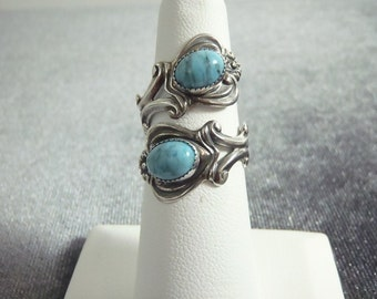 Sterling Silver Turquoise Bypass Ring Sz.6 3/4 R76