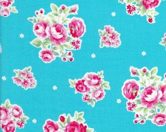 Aqua Floral Fabric - Aqua Fabric - Lecien Fabric - Flower Sugar -  31129 70