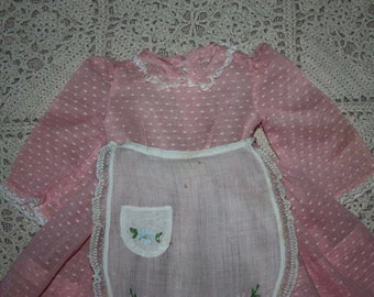 Fanulous Pink Dotted Swiss Dress with Embroidered Apron for Composition Dolls