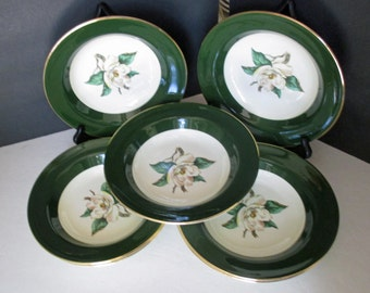Homer Laughlin Lifetime China Eggshelll Cavalier Shape - Jade Rose Pattern with Gold Trim - Set of 7  Rimmed Soup Bowls - 1950s