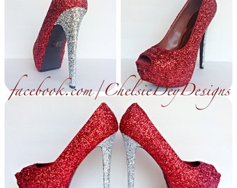 Crimson Red and Silver Glitter Open Peep Toe Pump High Heels