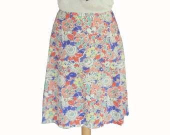 Summer skirt, Floral skirt, Midi skirt, Pastel colors skirt