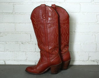 Vintage Women's Miss Capezio Cowboy Boots Rust Red TALL Heeled Womens Size 6.5