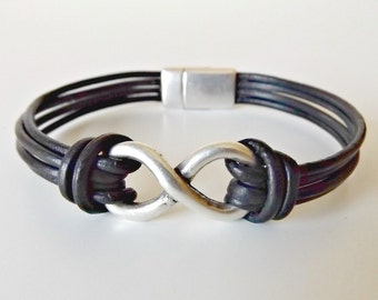 Infinity bracelet, infinity symbol, infinity jewelry, infinity for men, leather bracelets, leather jewelry, wife gift, husband gift